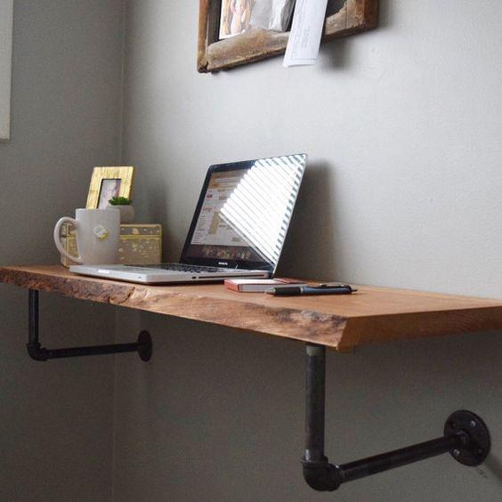 Live Rand Drijvende Desk Van 32belowdesigns Op Etsy Diy Office Desk Office Desk Designs Diy Desk Plans