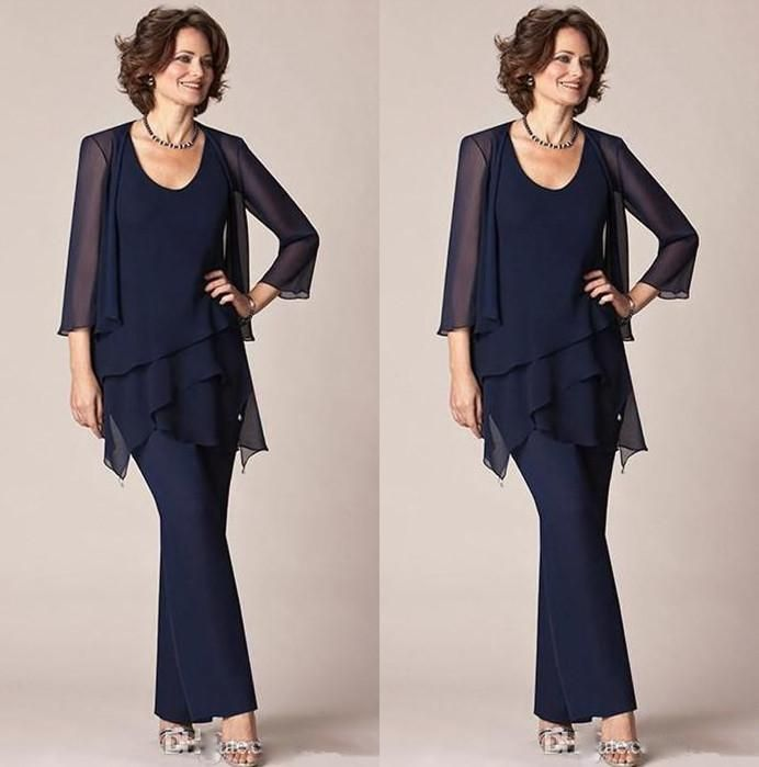 Dark Navy Blue Chiffon Three Pieces Mother Of The Bride Pant Suits ...