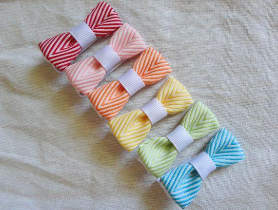 Rainbow Chevron Striped Ribbon Bitty Bows  Set of 6 by hannahmia01