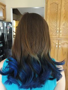 Blue Ends On Brown Hair Google Search Blue Tips Hair Dyed