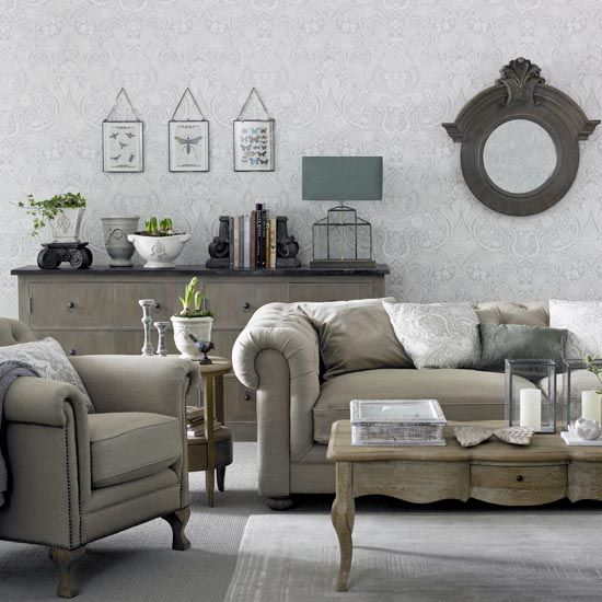 Grey Living Room With Chesterfield Sofa