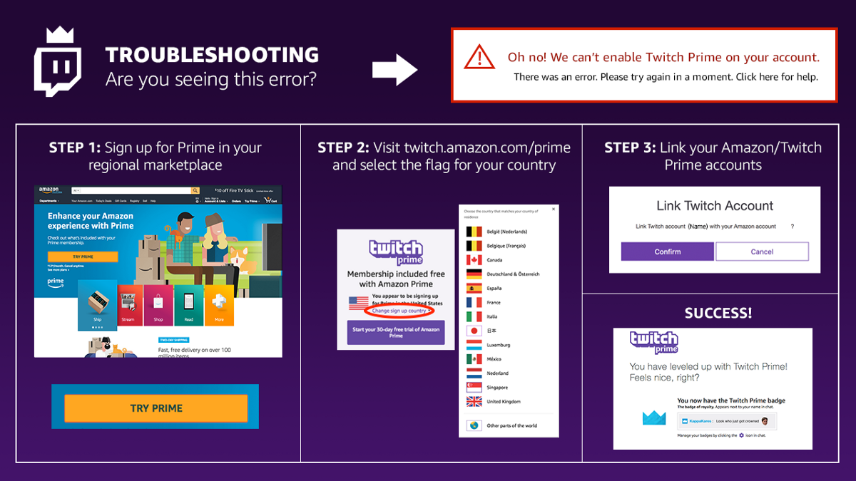 Resolving The Can T Enable Twitch Prime On Your Account Error Twitch Prime Twitch Enabling