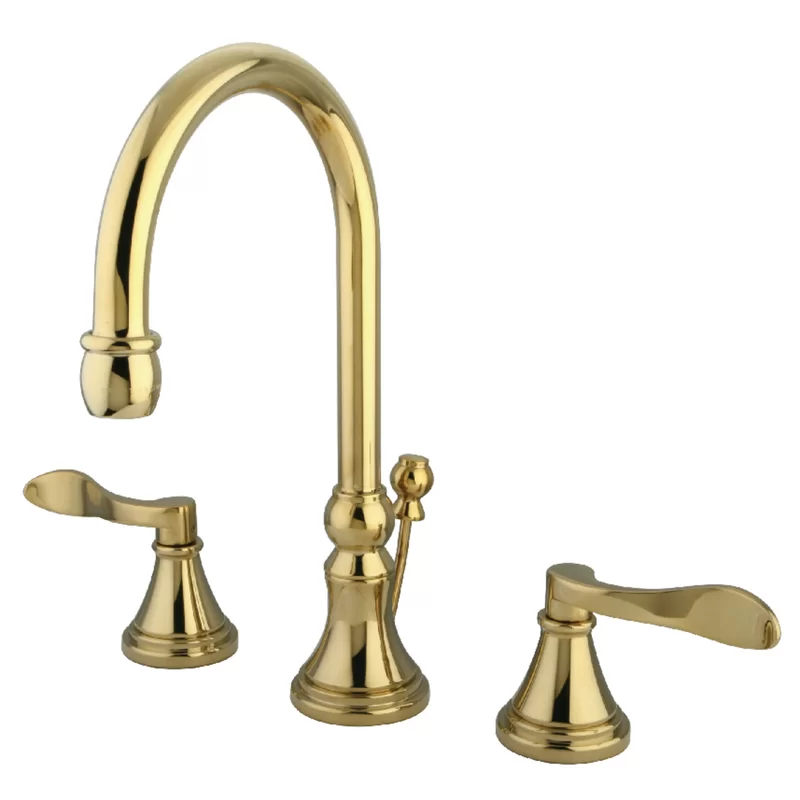 Photo of Nufrench widespread bathroom sink faucet with brass pop-up