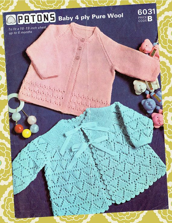 Original Vintage 1960s Baby Knitting Pattern Patons 6031 Lacy ...