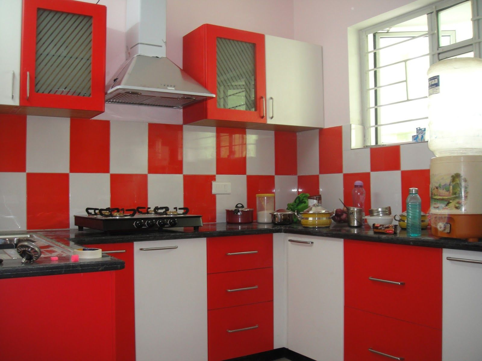 Kitchen Cool Modern Wall Tiles For Kitchen Backsplash Designs Excellent Red And White Kitchen Decorating Th Black Kitchen Decor Red Kitchen Decor Red Kitchen