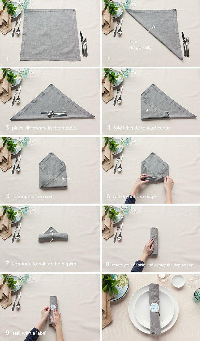 Table Setting Tips: 3 Basic Napkin Folds   Pinterest   Table ...