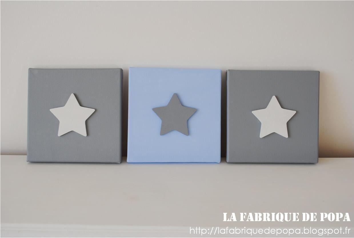 Triptyque 20x20 Etoiles bleu blanc gris chambre d\'enfant bébé ...