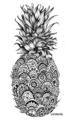 Pinapple Mandala Coloring Page