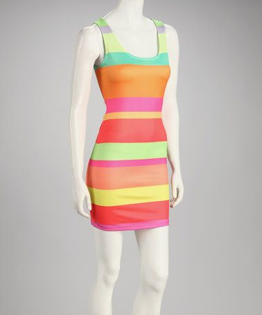 Take a look at this Green & Orange Stripe Sleeveless Dress on zulily today!