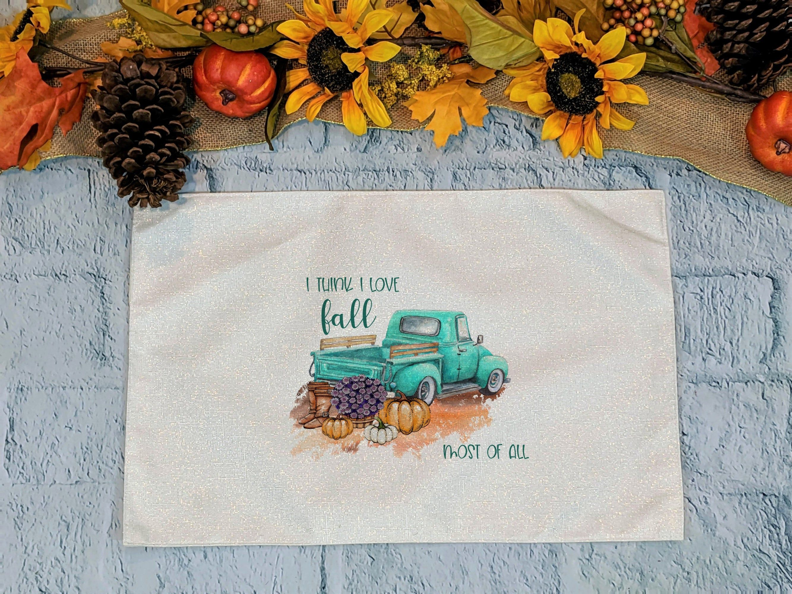 Fall Farmhouse Truck Thanksgiving Placemats Thanksgiving Table Decor Thanksgiving Table Decorations Place Settings Thanksgiving Thanksgiving Table Settings