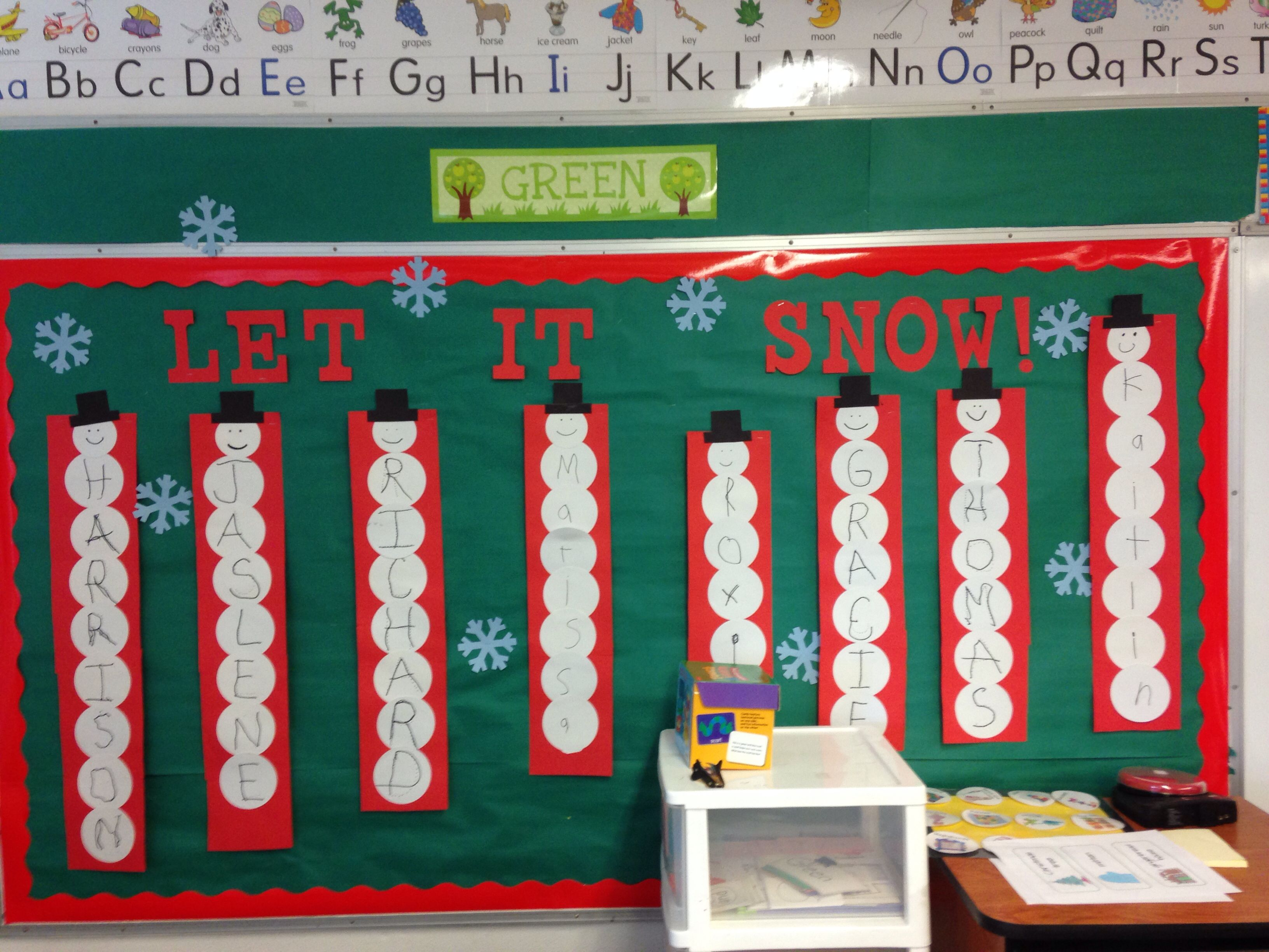 Winter bulletin board... Snowman sequencing letters in name.
