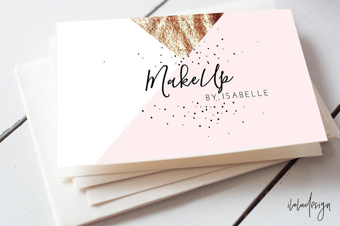 geometric makeup business card business cards partner link - Makeup Business Cards