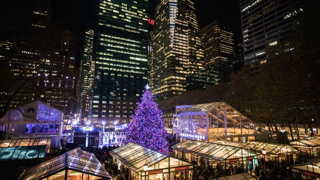 Winter Village in Bryant Park by @HotelEdison by newyorkcityfeelings.com - The Best Photos and Videos of New York City including the Statue of Liberty Brooklyn Bridge Central Park Empire State Building Chrysler Building and other popular New York places and attractions.