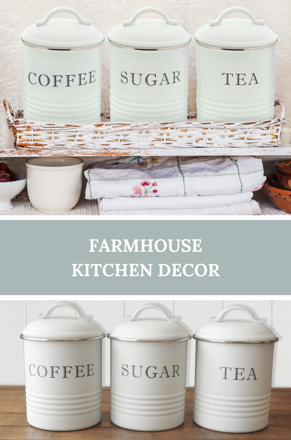 Kitchen Canisters With Airtight Lids Coffee Tea Sugar White Set Of 3 Coffee Decor Kitchen Kitchen Canisters Shabby Chic Kitchen Accessories