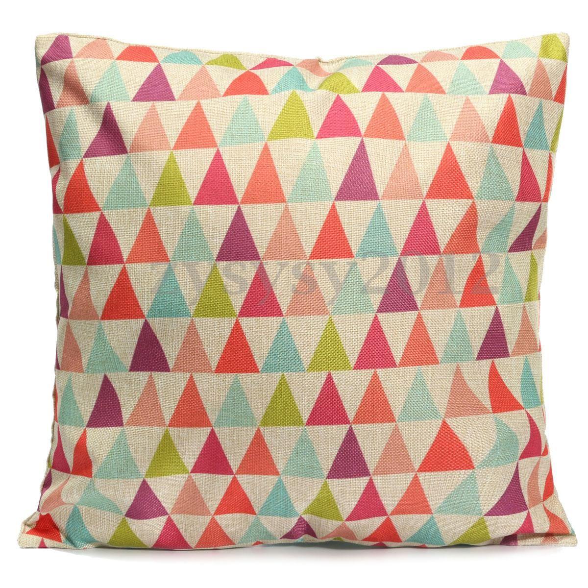 Details about geometric flower vintage cotton linen pillow case