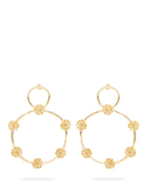 Elise Tsikis Paris Marguerite large daisy hoop earrings biutOOb