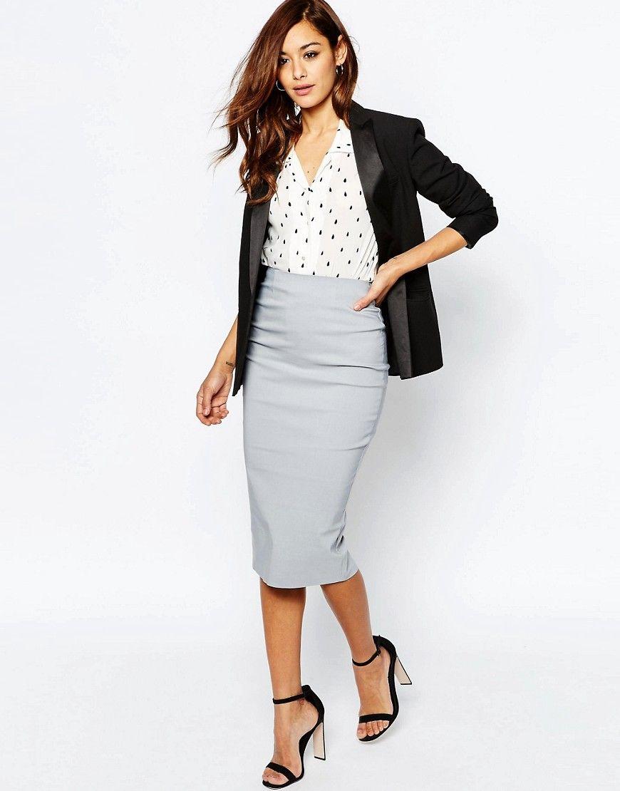 7498265fc54cd4 High Waist Longerline Pencil Skirt | 9 to 5 | Pencil skirt outfits ...