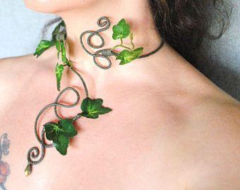 Gift-Efeu grün Efeublätter langen Arm Manschette wickeln Slave Armband Efeu Bündchen Wald Wald Fee Kostüm #corsages