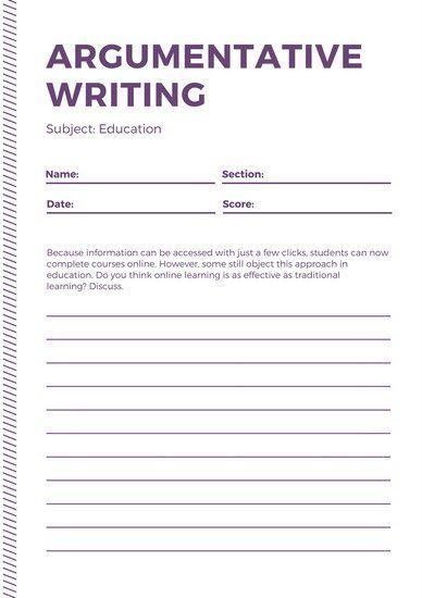 Purple Simple Writing Prompt Debate Worksheet journaling