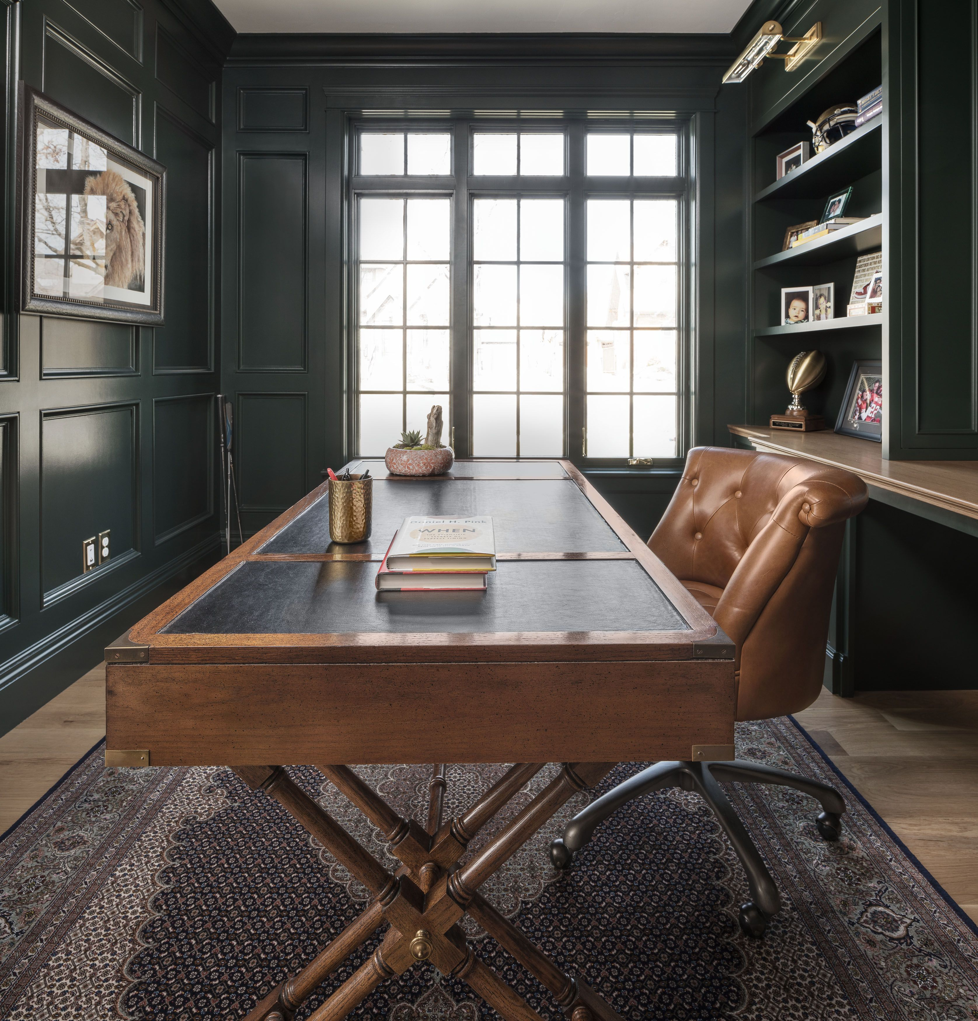 Dark Moody Office Design Green Home Offices Modern Home