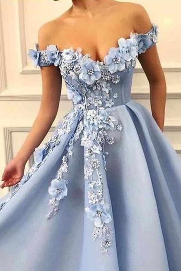 Blue Off Shoulder Flower Appliques A-line Long Modest Beautiful Prom Dresses TP0176 #flowerdresses