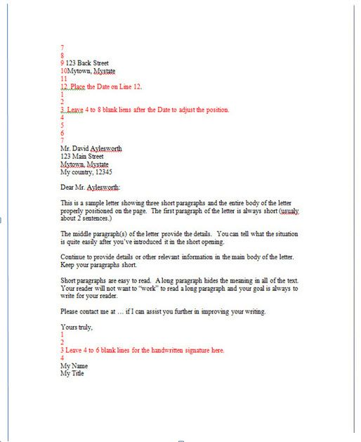 Writing Activities Sample Professional Letter Business Tips For