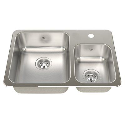 Kindred QCMA1826/7 Steel Queen Topmount 26.5 In Double Offset Kitchen Sink  With Faucet