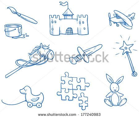 Children's toys icons, puzzle, castle, duckling, horse, hand