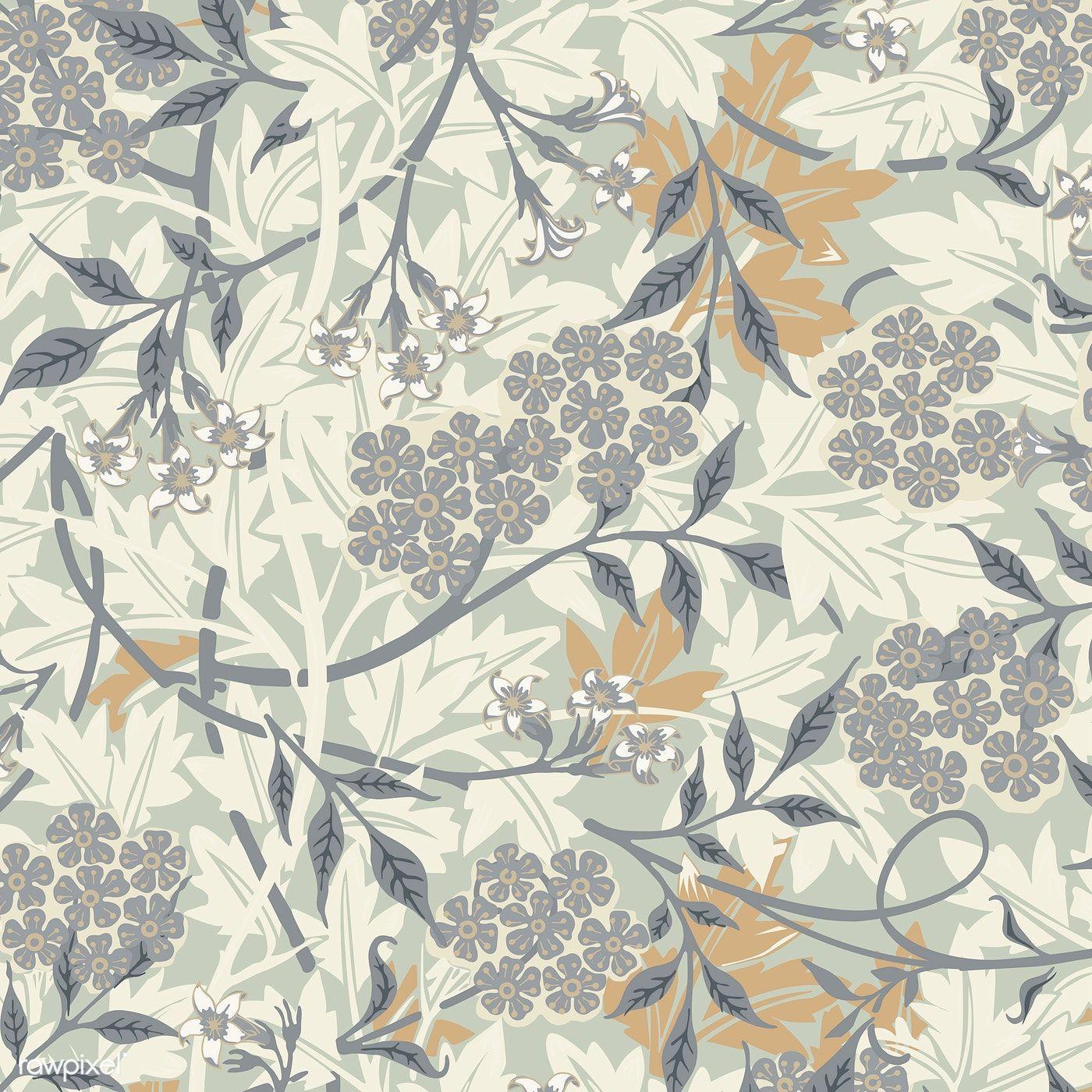 Download Premium Vector Of Vintage Illustration Of Jasmine 496095 Di 2020 Gaun Motif Bunga Bunga Kain