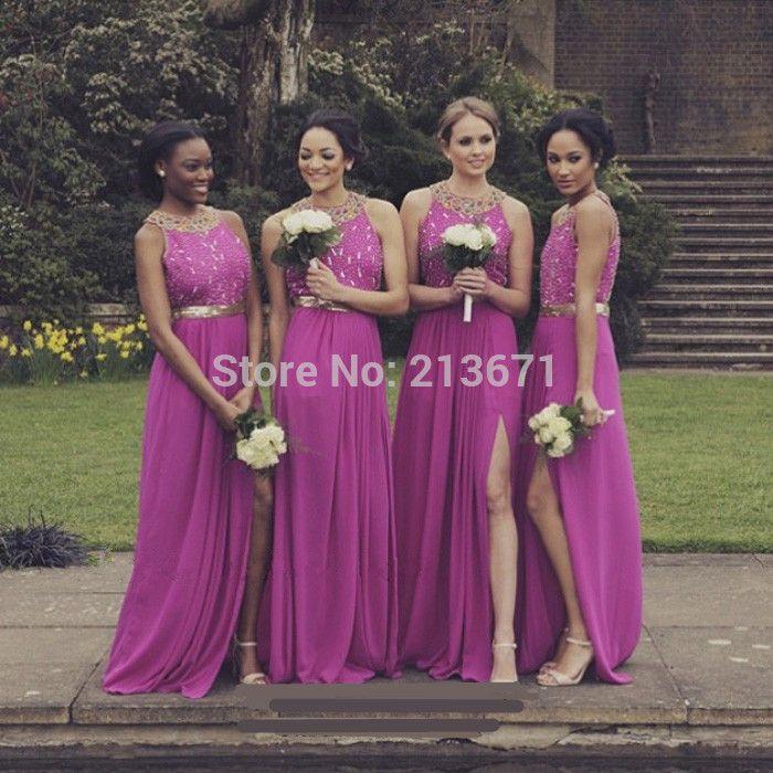 Tamaño personalizado vestidos de novia Fucsia Vestidos de dama de ...