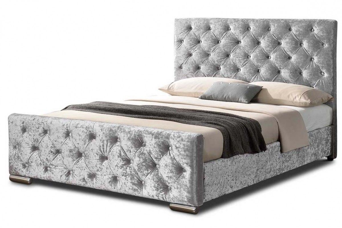 Buckingham Silver Crushed Velvet Fabric Upholstered Double King Size Bed Frame Velvet Bed Frame Bed Crushed Velvet Bed