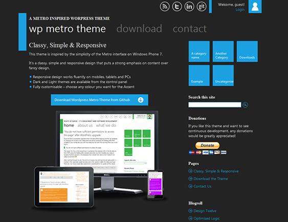This free Metro style WordPress theme has a responsive layout, light ...