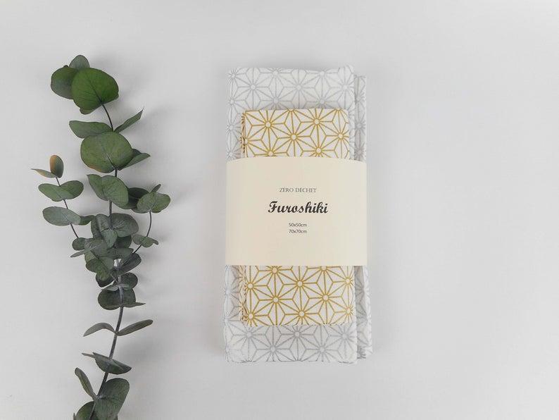 2 Furoshiki, zéro déchet, emballage cadeau, papier cadeau tissu, étoiles asanoha, doré, argenté, durable, écologique, anniversaire, noël