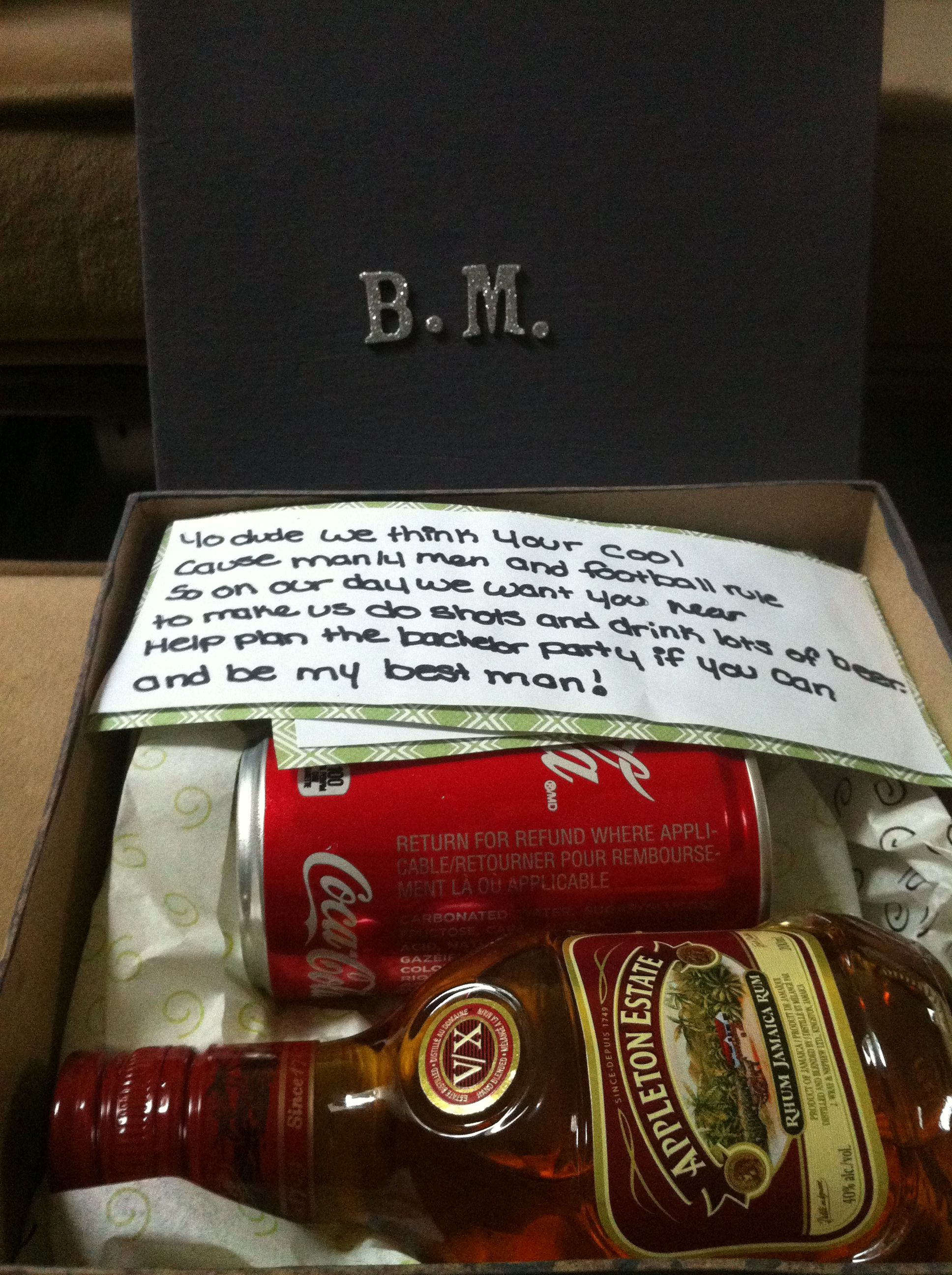 A great way to ask your groomsmen to stand at your side on your big day! Rum and coke how can they say no?