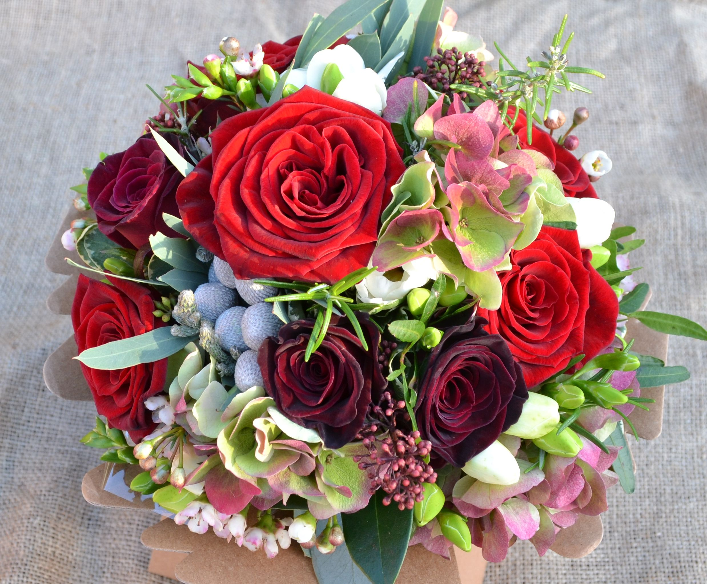 Grand Prix & Black Baccara Rose Christmas bouquet. www