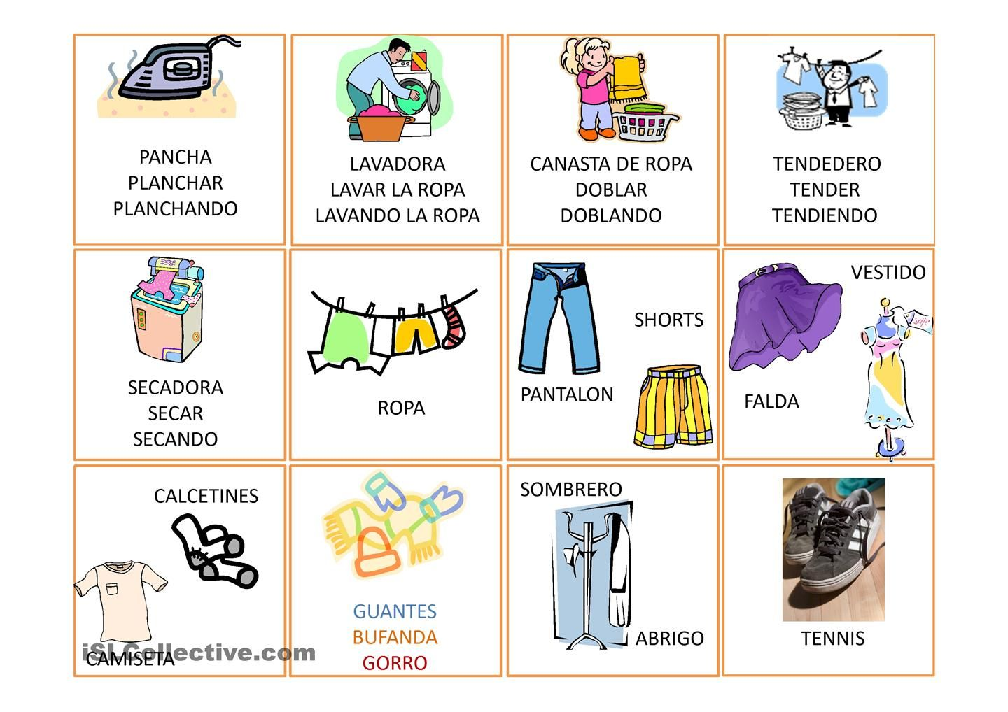 Vocabulario Basico Ropa Trabajos Free Esl Projectable Worksheets