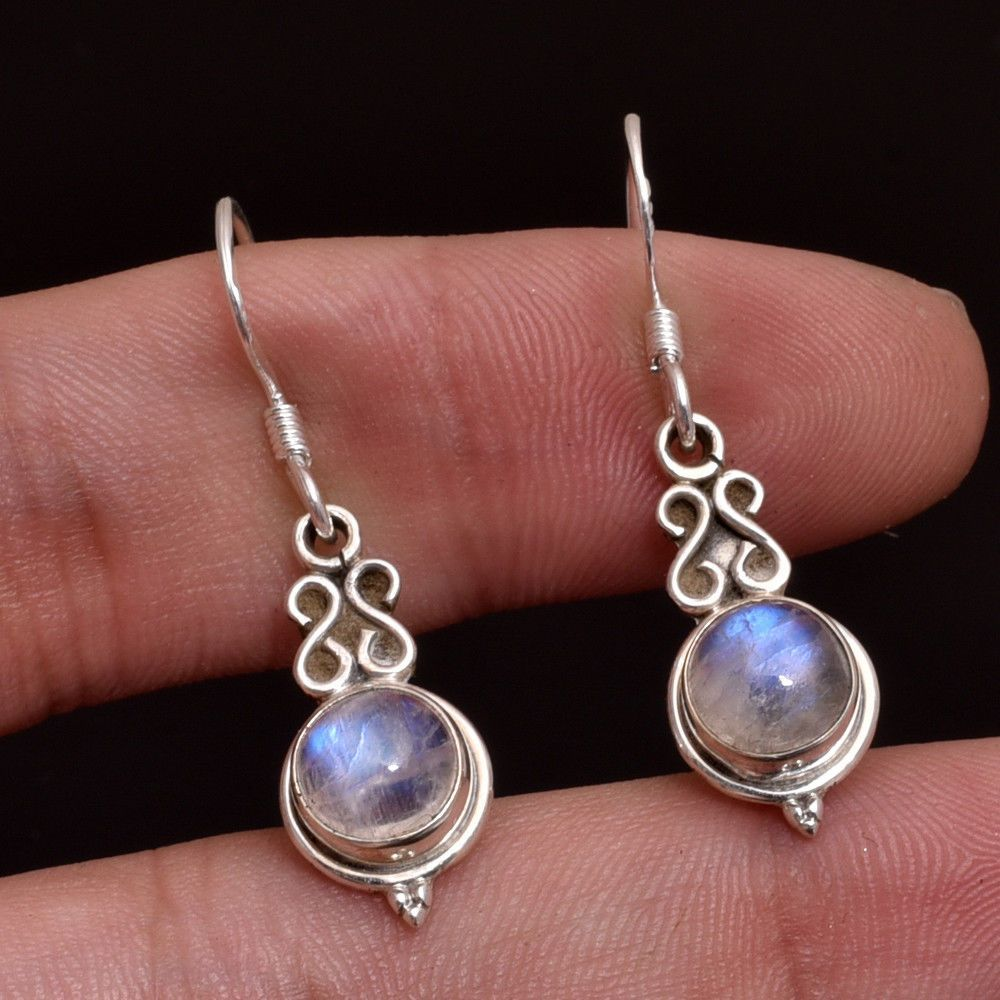 COLORS OF JEWELS 925 Sterling Silver Natural Gemstone Rainbow Moonstone Dangler Earring Jewelry