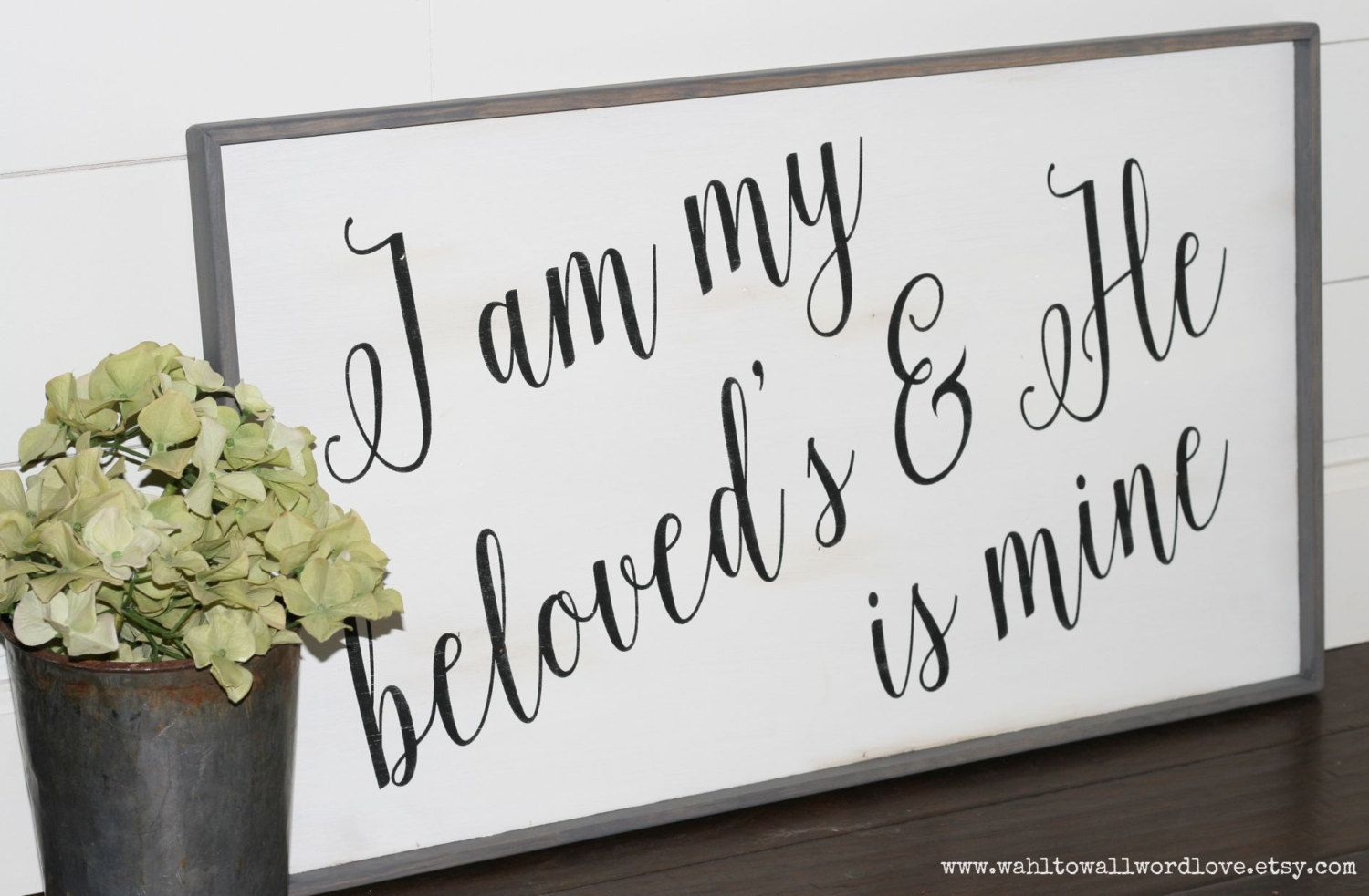 I am my beloved's and He is mine | Song of Solomon 6 3 | wedding sign | engagement gift | wedding gift | love wall art | bedroom wall decor by WahlToWallWordLove on Etsy