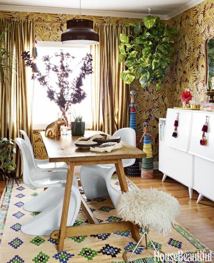salones modernos, comedor acogedor decorado en estilo boho chic ...