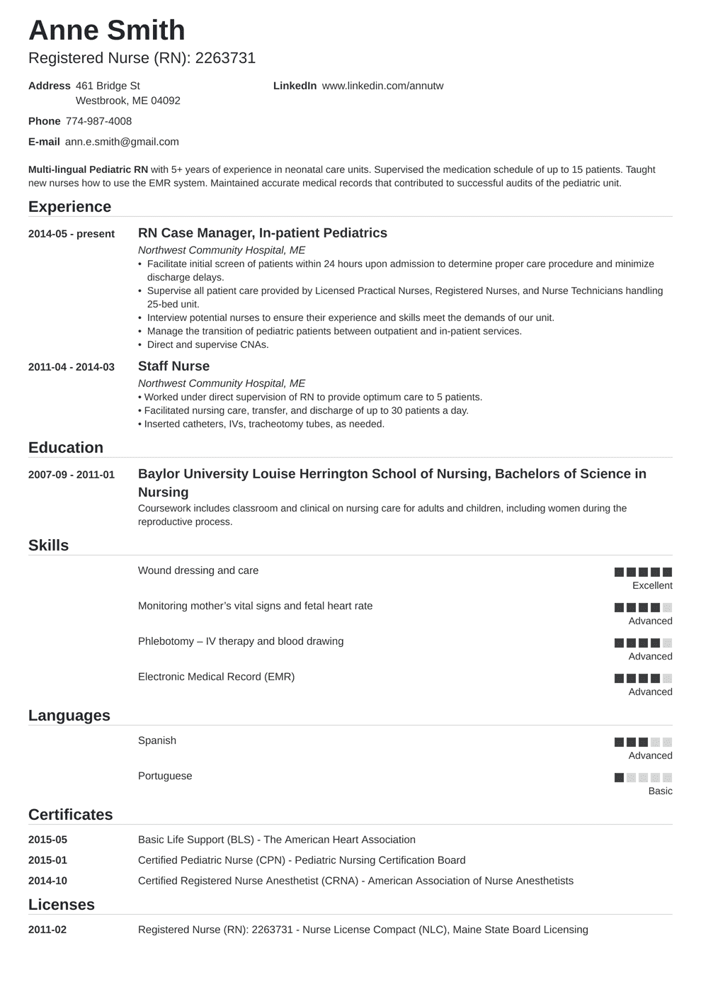 nursing resume template nanica in 2020 Nursing resume