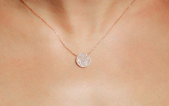 Small pave silver disc necklace. Rose gold pave disc necklace. Pave disc  necklace. Circle necklace. Disc necklace. Pave necklace