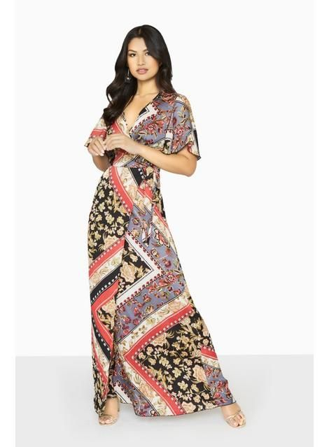951e6e8741b Womens  Girls on Film Scarf Print Maxi Dress- Multi Colour
