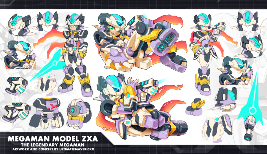 Megaman Model ZXA! The main biometal protagonist of ZX3!  When I was conceptualizing this character. I actually wanted the color pallete to consist of red, blue and yellow. But then, the color...