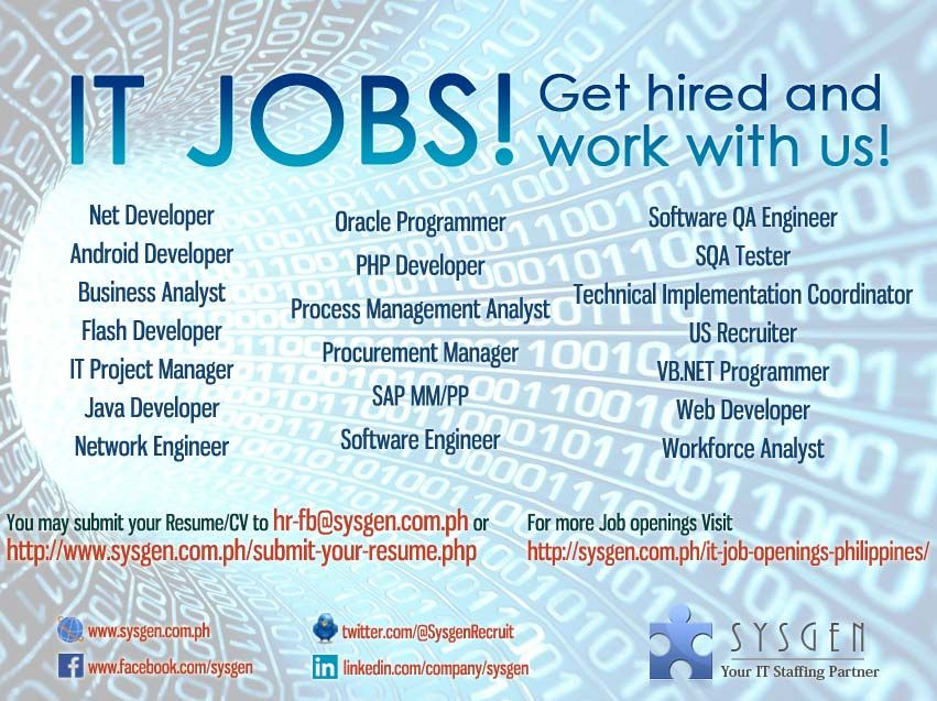 Job openings in IT as of October 18, 2013 Visit    sysgen - network engineer job description