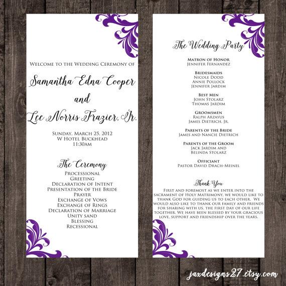 Wedding Program Template Tea Length Flourish By Jaxdesigns27 Invitations I Love Diy Wedding Programs Diy Wedding Program Template Wedding Programs