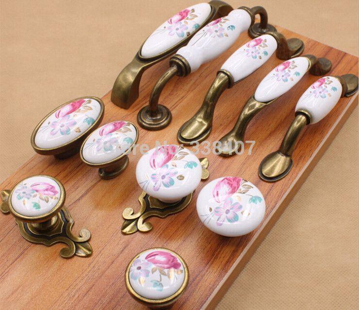 Vintage Ceramic Cabinet Knobs and Handles China Flower Furniture ...