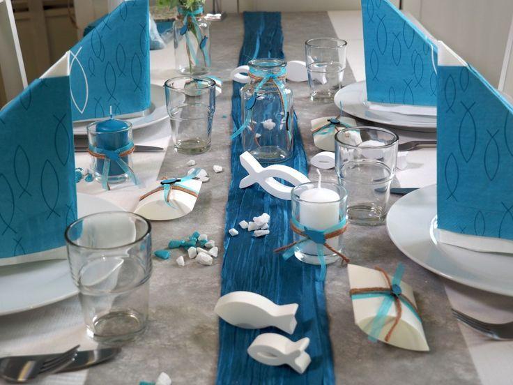 Tischdeko Kommunion Konfirmation Petrol Blau Grau Weiss Fisch Set 20 Personen Isaak Blau Fisch Gr Table Decorations Cheap Home Decor Home Decor Accessories