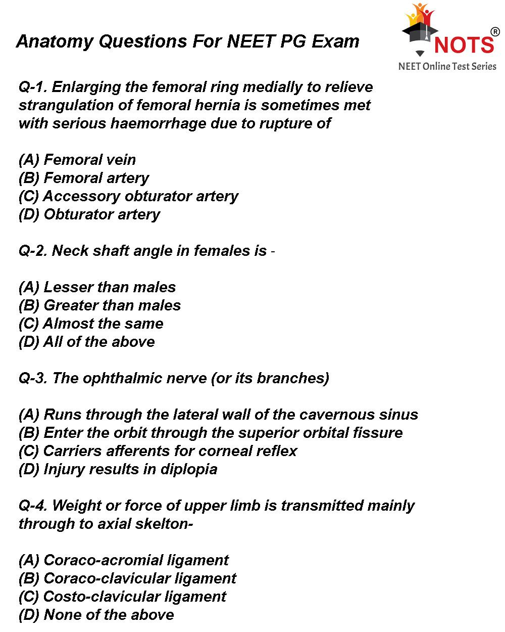Anatomy Questions For Neet Pg Exam Solve These Questions For