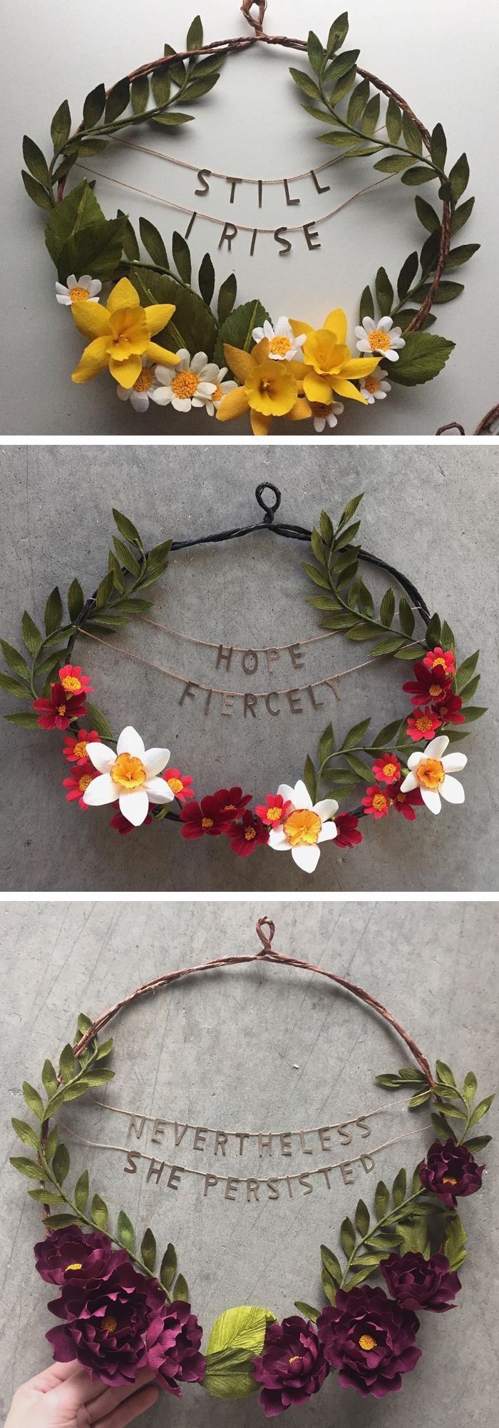 Photo of Paper flower wreaths combine beauty with powerful phrases to strengthen you every day