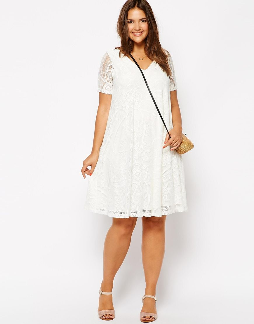 a4735304b7b1 Image 4 of ASOS CURVE Exclusive Swing Dress In Lace With Deep V In Longer  Length $67.71. also comes in black.